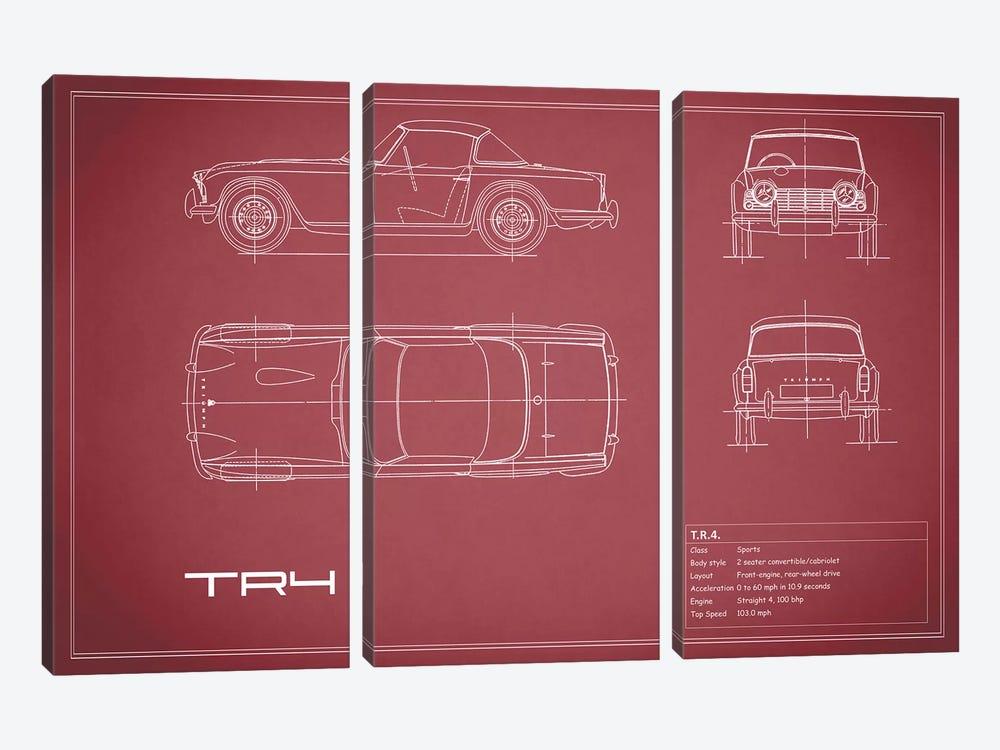 Triumph TR4 (Maroon) by Mark Rogan 3-piece Canvas Artwork