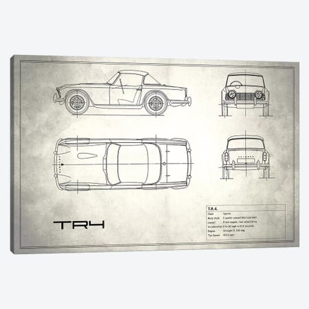 Triumph TR4 (Vintage Silver) Canvas Print #RGN258} by Mark Rogan Canvas Art Print