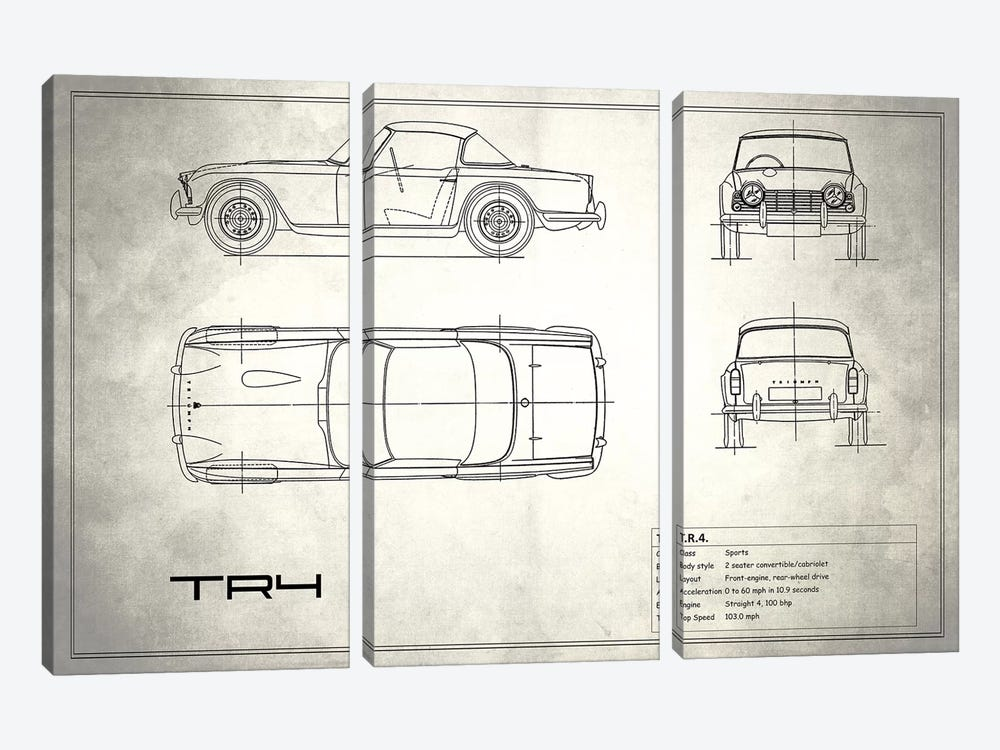 Triumph TR4 (Vintage Silver) by Mark Rogan 3-piece Canvas Art Print