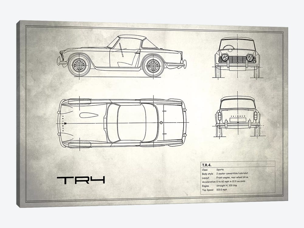 Triumph TR4 (Vintage Silver) by Mark Rogan 1-piece Canvas Art Print