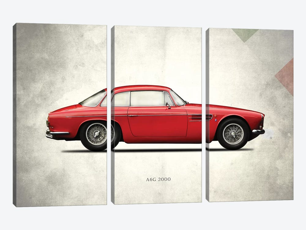 1956 Maserati A6G 2000 by Mark Rogan 3-piece Canvas Artwork