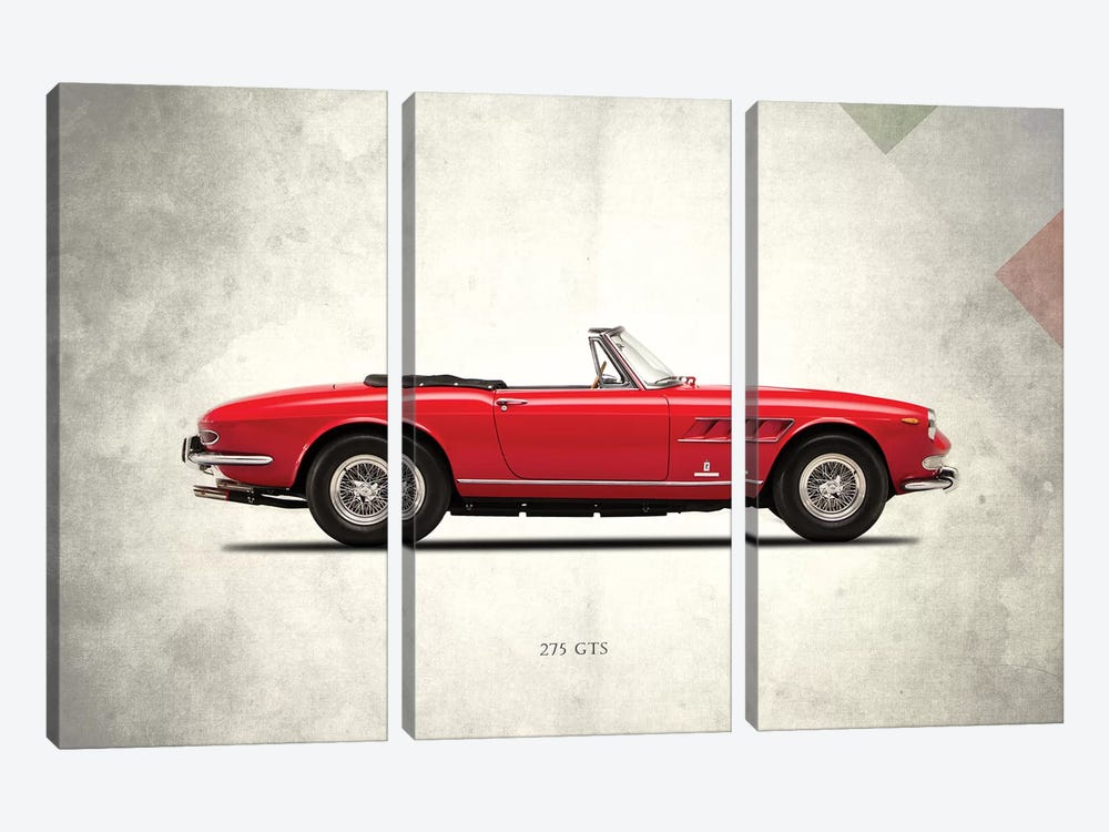 1966 Ferrari 275 GTS by Mark Rogan 3-piece Canvas Artwork