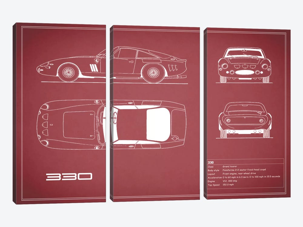 1963 Ferrari 330 LM Berlinetta (Maroon) by Mark Rogan 3-piece Canvas Artwork