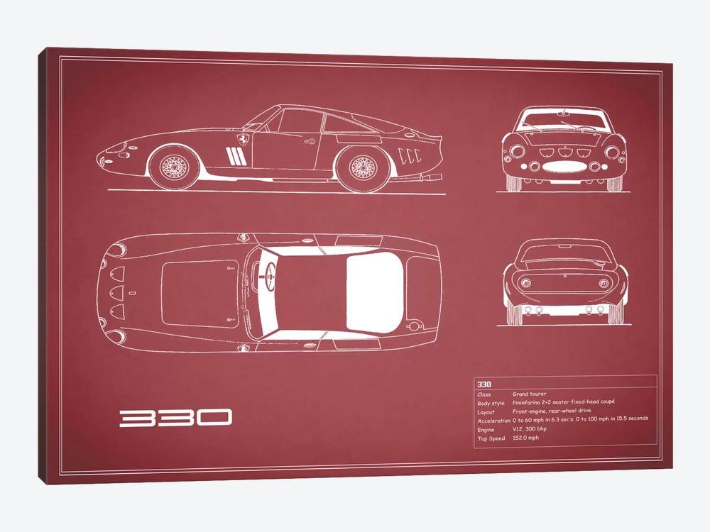 1963 Ferrari 330 LM Berlinetta (Maroon) by Mark Rogan 1-piece Canvas Artwork