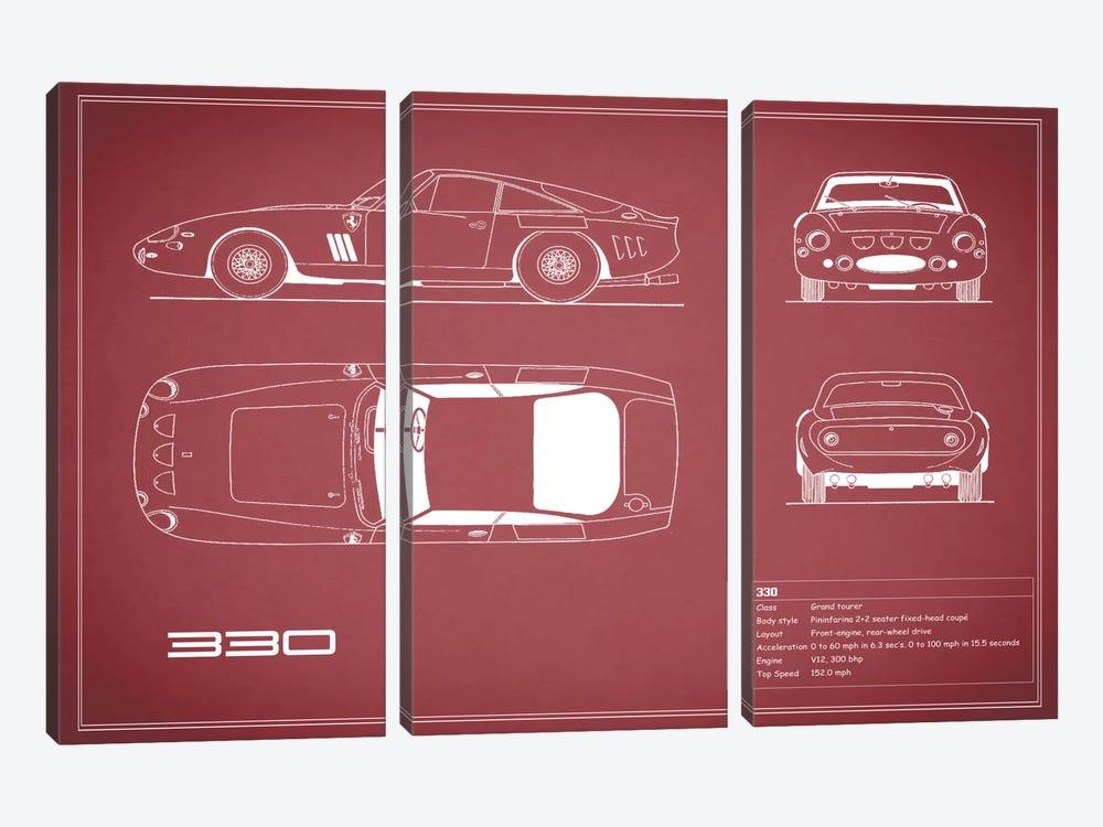 1963 Ferrari 330 LM Berlinetta (Maroon) by Mark Rogan 3-piece Canvas Artwork