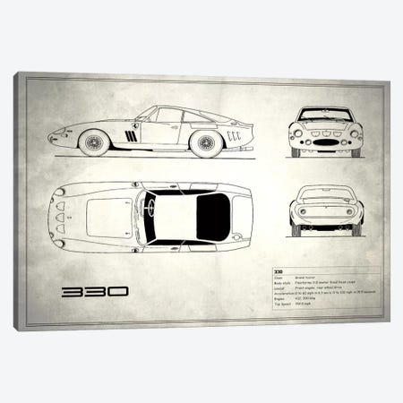 1963 Ferrari 330 LM Berlinetta (Vintage Silver) Canvas Print #RGN27} by Mark Rogan Canvas Print