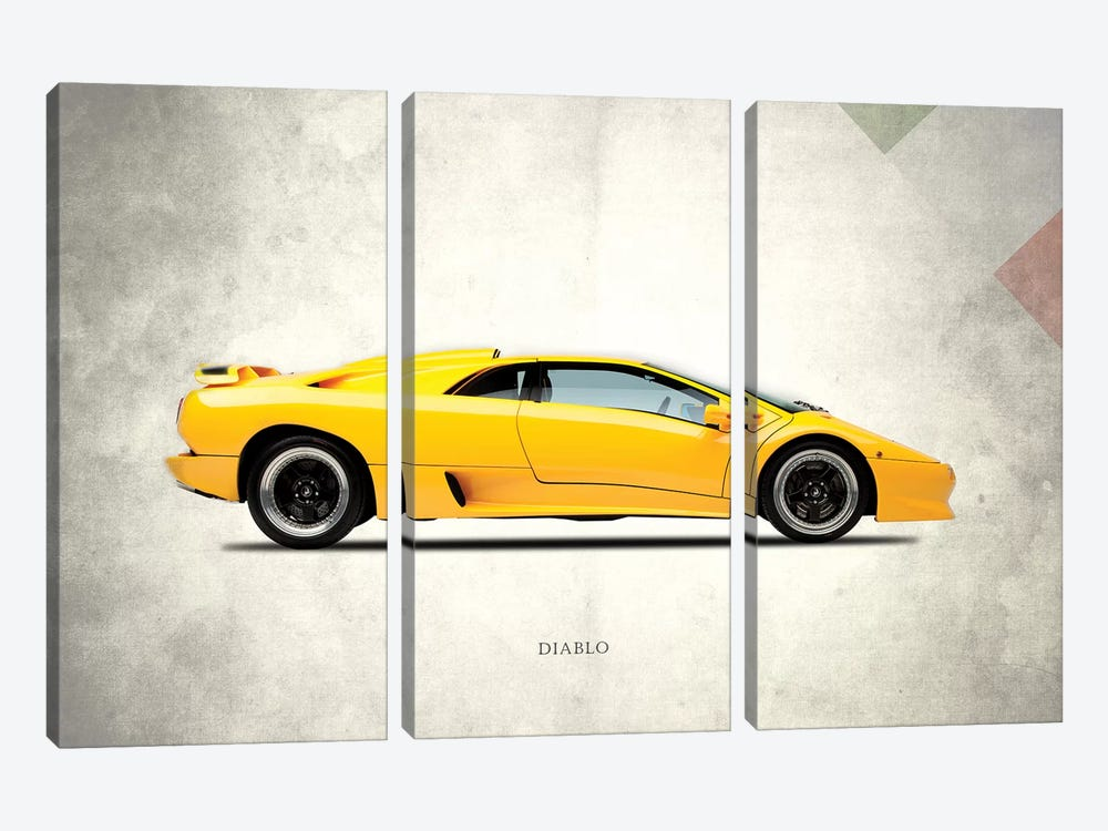 1988 Lamborghini Diablo by Mark Rogan 3-piece Canvas Art