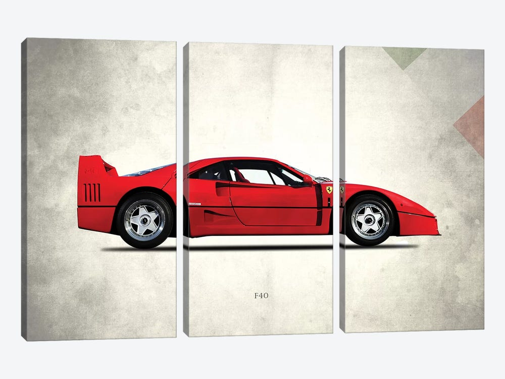1992 Ferrari F40 by Mark Rogan 3-piece Canvas Wall Art