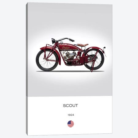 1924 Indian Scout Motorcycle Canvas Print #RGN297} by Mark Rogan Canvas Wall Art