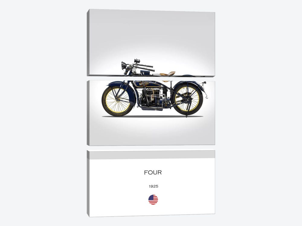 1925 Henderson Four Motorcycle by Mark Rogan 3-piece Canvas Artwork