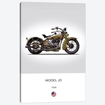 1928 Harley-Davidson Model JD Motorcycle Canvas Print #RGN301} by Mark Rogan Canvas Print