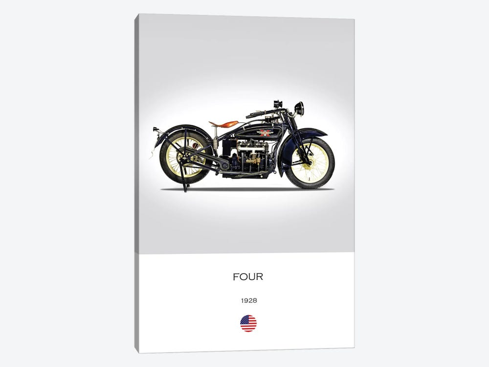 1928 Henderson Four Motorcycle 1-piece Canvas Wall Art