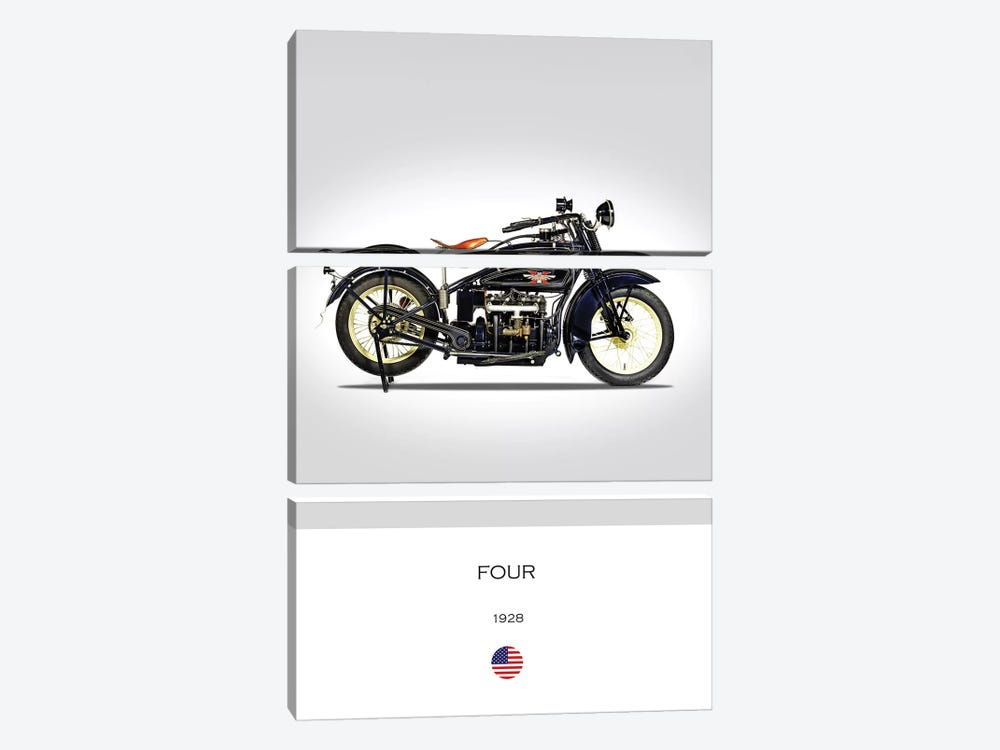 1928 Henderson Four Motorcycle by Mark Rogan 3-piece Canvas Wall Art