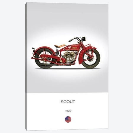 1929 Indian Scout 101 Motorcycle Canvas Print #RGN304} by Mark Rogan Canvas Artwork