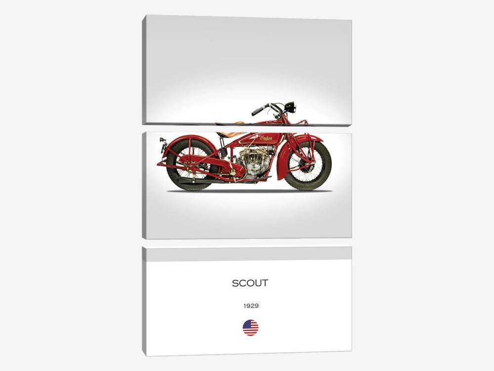 1929 Indian Scout 101 Motorcycle by Mark Rogan 3-piece Art Print