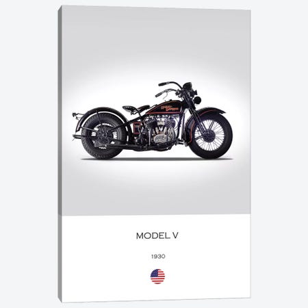 1930 Harley-Davidson Model V Motorcycle Canvas Print #RGN305} by Mark Rogan Canvas Artwork