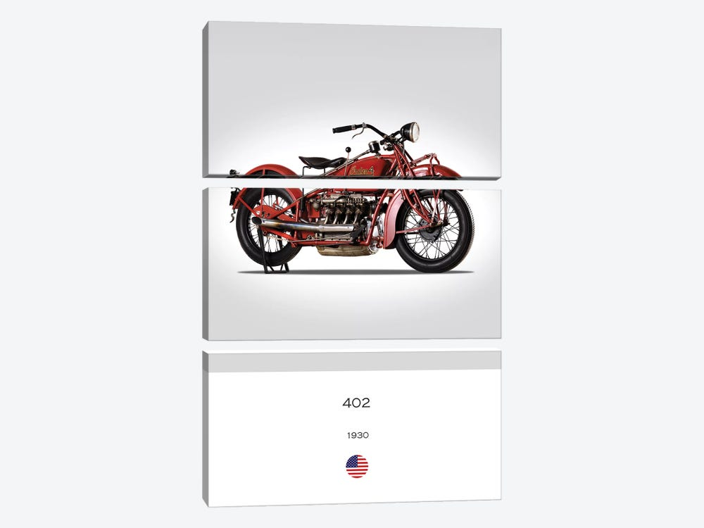 1930 Indian 402 Motorcycle by Mark Rogan 3-piece Canvas Art Print