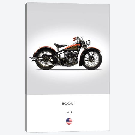 1938 Indian Scout Motorcycle Canvas Print #RGN310} by Mark Rogan Canvas Art