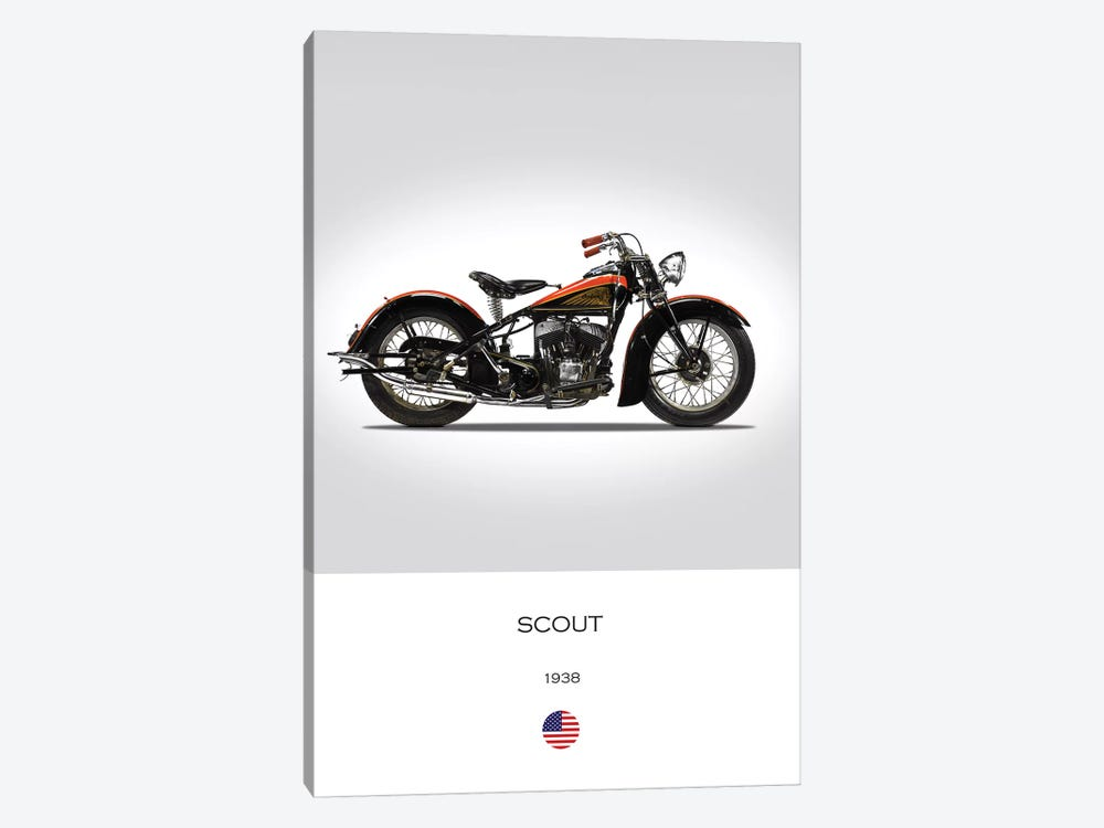 1938 Indian Scout Motorcycle by Mark Rogan 1-piece Canvas Art