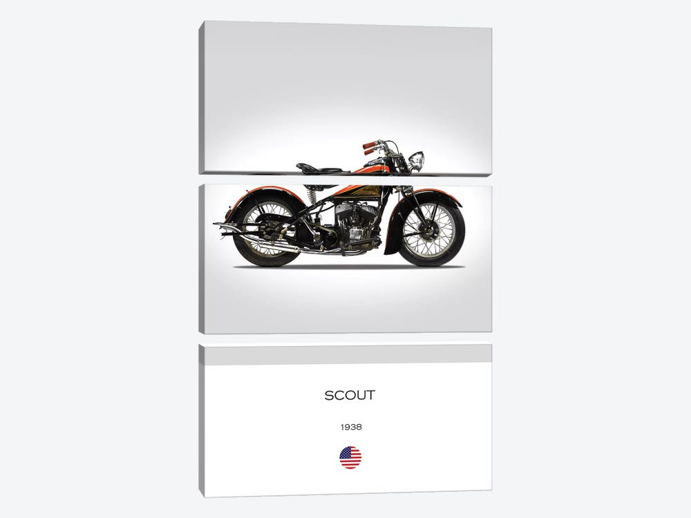 1938 Indian Scout Motorcycle by Mark Rogan 3-piece Canvas Art
