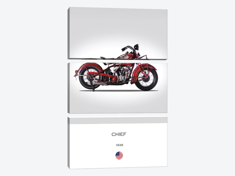 1939 Indian Chief Motorcycle by Mark Rogan 3-piece Canvas Print