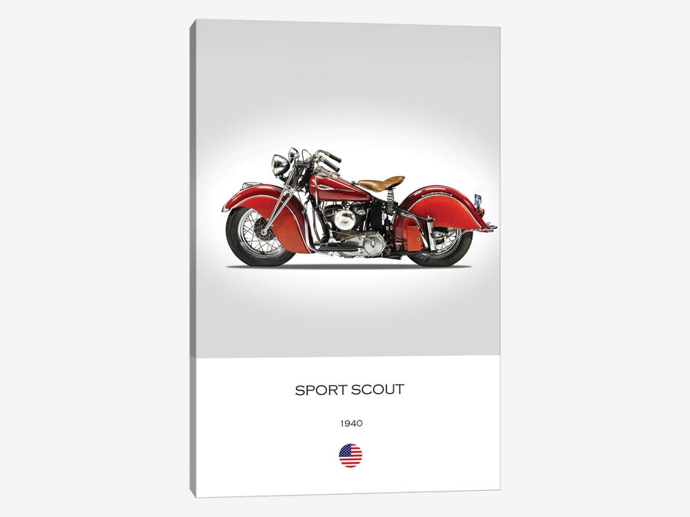 1940 Indian Sport Scout Motorcycle by Mark Rogan 1-piece Canvas Art Print