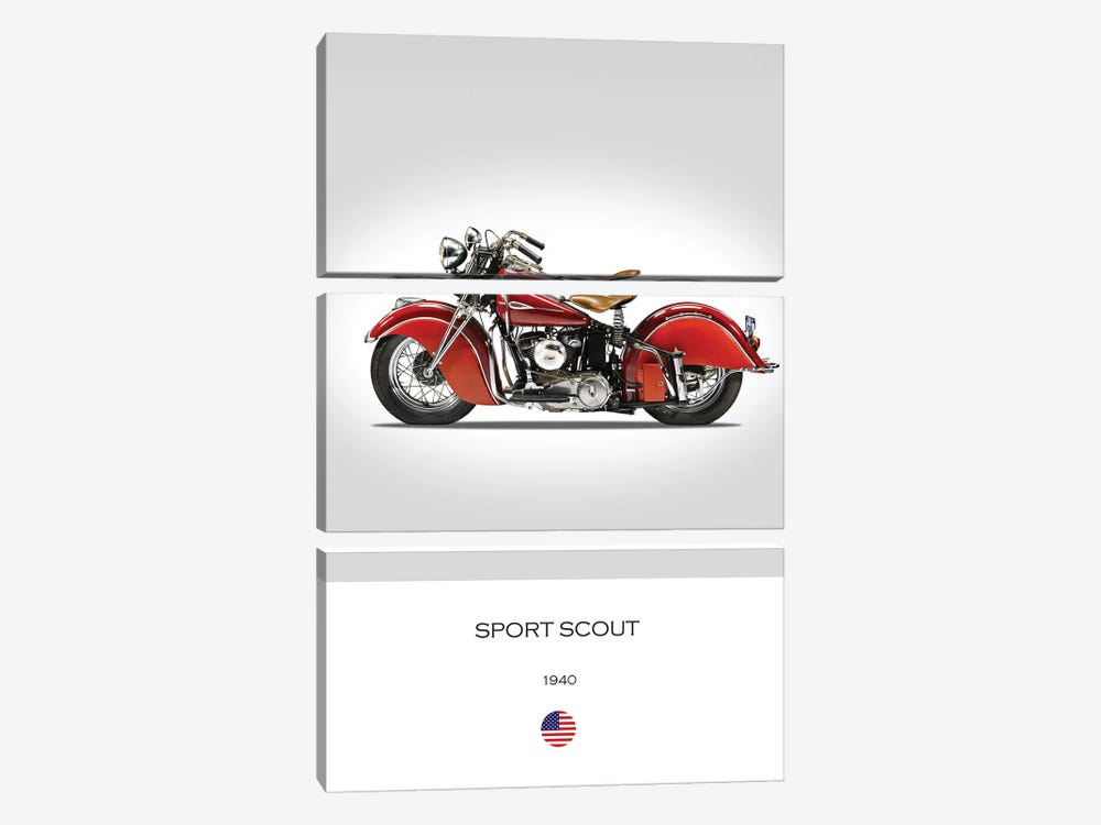 1940 Indian Sport Scout Motorcycle by Mark Rogan 3-piece Canvas Print