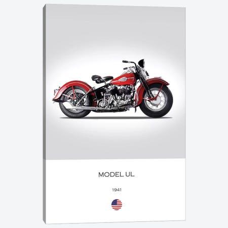 1941 Harley-Davidson Model UL Motorcycle 3-Piece Canvas #RGN314} by Mark Rogan Art Print