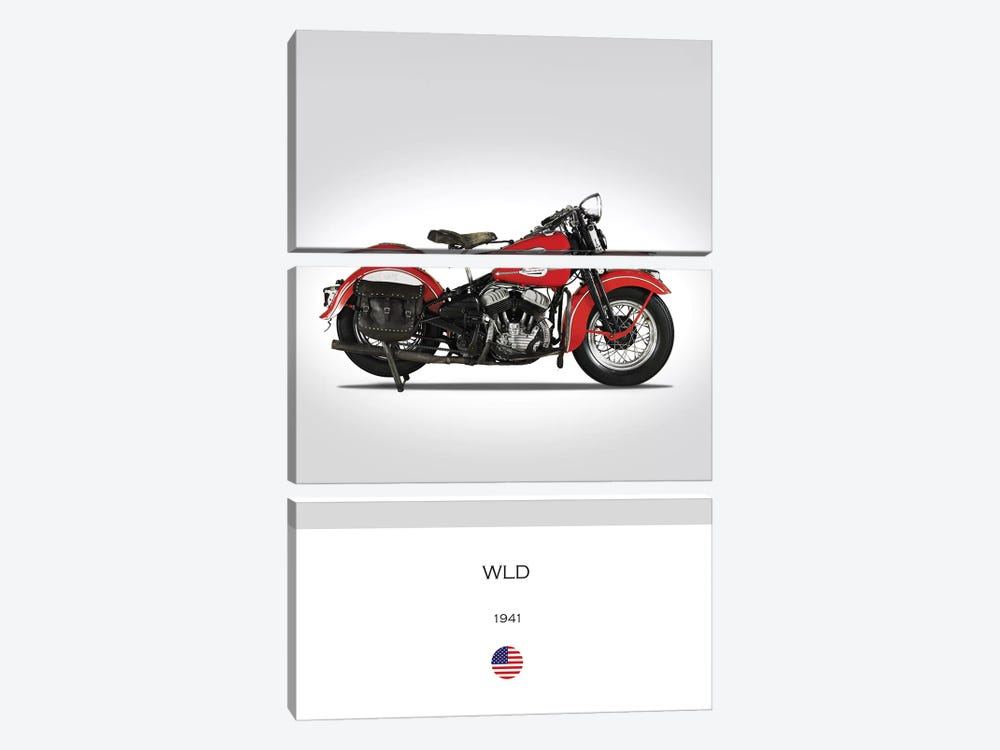 1941 Harley-Davidson WLD Motorcycle by Mark Rogan 3-piece Art Print