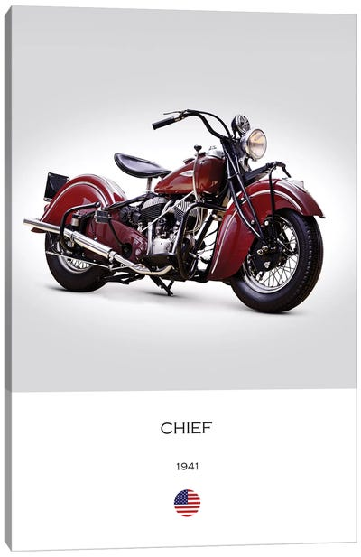 1941 Indian Chief Motorcycle Canvas Art Print