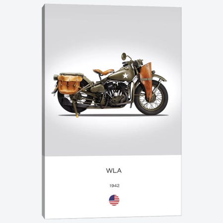 1942 Harley-Davidson WLA Motorcycle Canvas Print #RGN317} by Mark Rogan Art Print