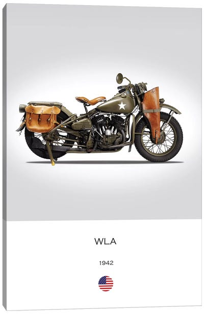1942 Harley-Davidson WLA Motorcycle Canvas Art Print