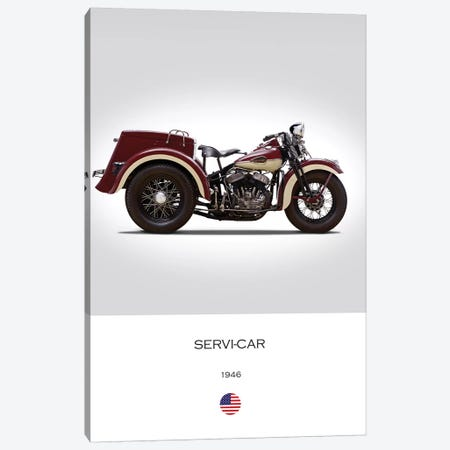 1946 Harley-Davidson Servi-Car Motorcycle Canvas Print #RGN318} by Mark Rogan Canvas Artwork