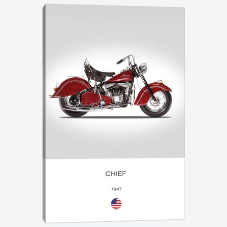 1947 Indian Chief Motorcycle Canvas Print #RGN319} by Mark Rogan Canvas Artwork