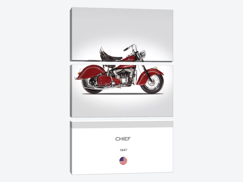 1947 Indian Chief Motorcycle by Mark Rogan 3-piece Canvas Print