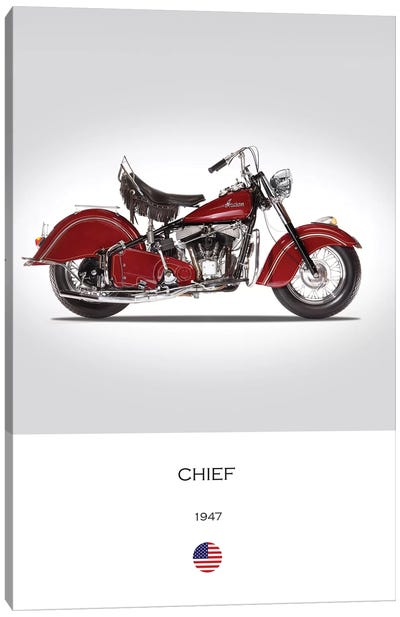 1947 Indian Chief Motorcycle Canvas Art Print
