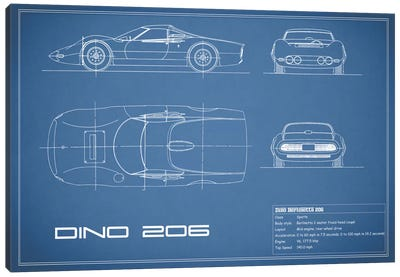 1965 Ferrari Dino Berlinetta 206 (Blue) Canvas Art Print