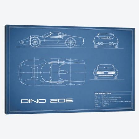 1965 Ferrari Dino Berlinetta 206 (Blue) Canvas Print #RGN31} by Mark Rogan Canvas Print