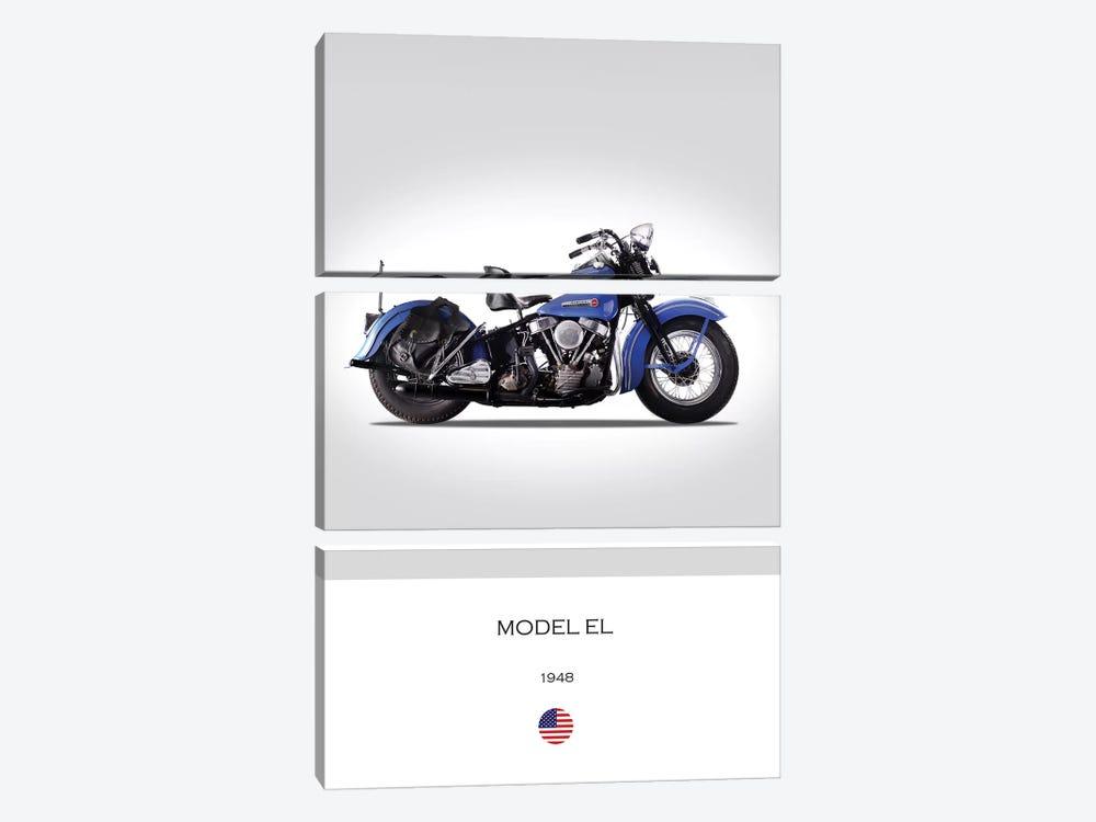 1948 Harley-Davidson Model EL Motorcycle by Mark Rogan 3-piece Canvas Artwork