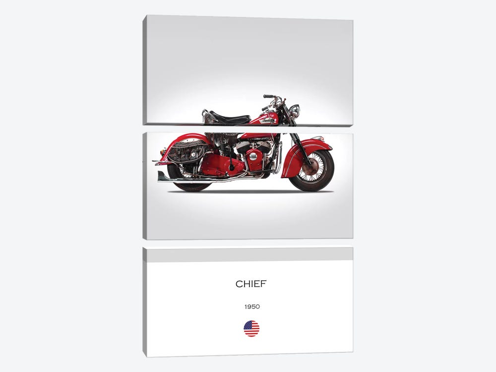 1950 Indian Chief Motorcycle by Mark Rogan 3-piece Art Print