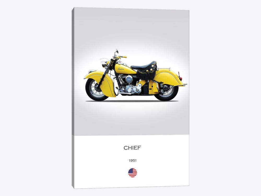 1951 Indian Chief Motorcycle by Mark Rogan 1-piece Canvas Artwork