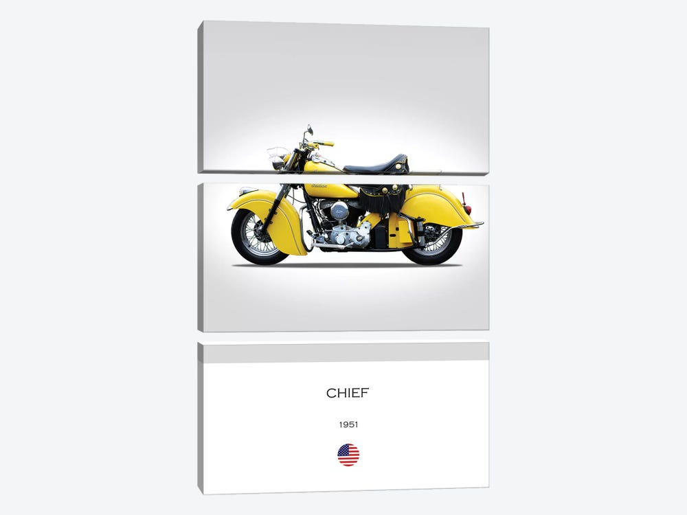 1951 Indian Chief Motorcycle by Mark Rogan 3-piece Canvas Art