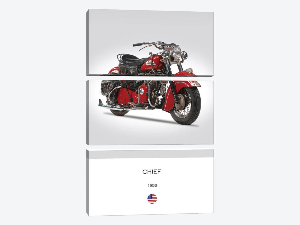 1953 Indian Chief Motorcycle by Mark Rogan 3-piece Canvas Print