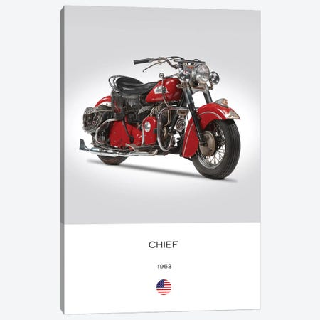 1953 Indian Chief Motorcycle Canvas Print #RGN324} by Mark Rogan Canvas Artwork