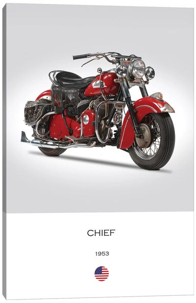 1953 Indian Chief Motorcycle Canvas Art Print