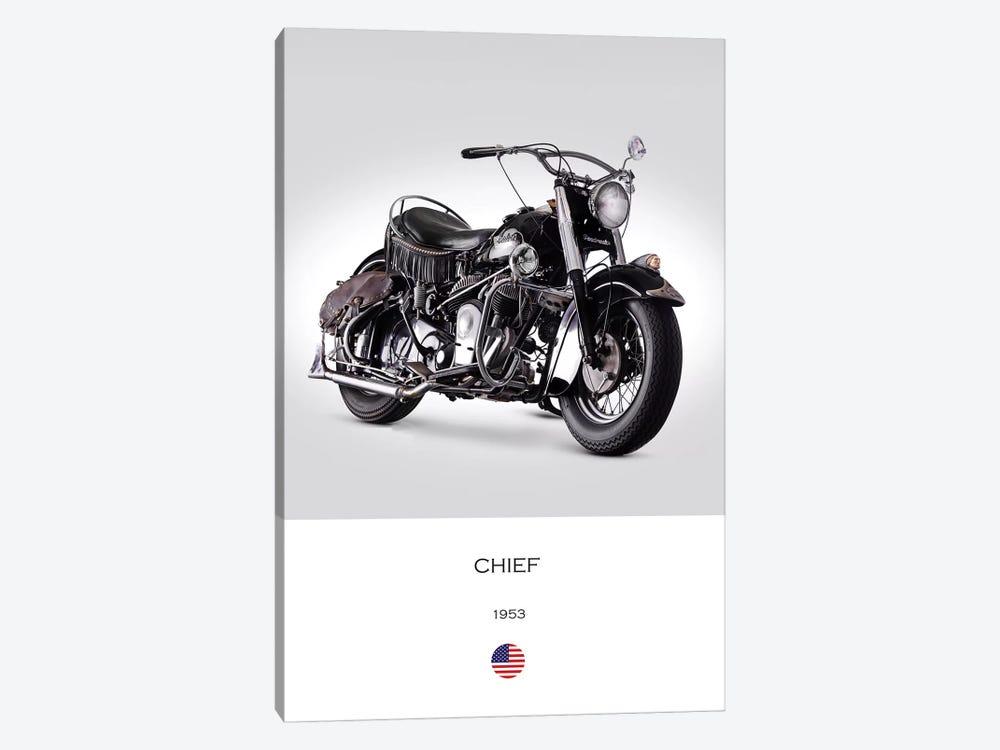 1953 Indian Chief Roadmaster Motorcycle by Mark Rogan 1-piece Canvas Artwork