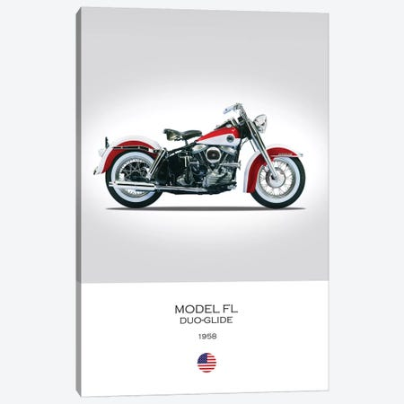 1958 Harley-Davidson Model FL Duo-Glide Motorcycle Canvas Print #RGN326} by Mark Rogan Canvas Artwork