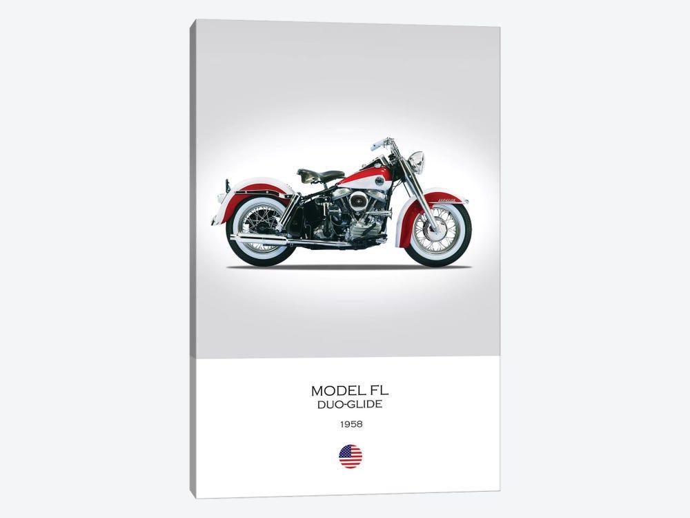1958 Harley-Davidson Model FL Duo-Glide Motorcycle by Mark Rogan 1-piece Art Print