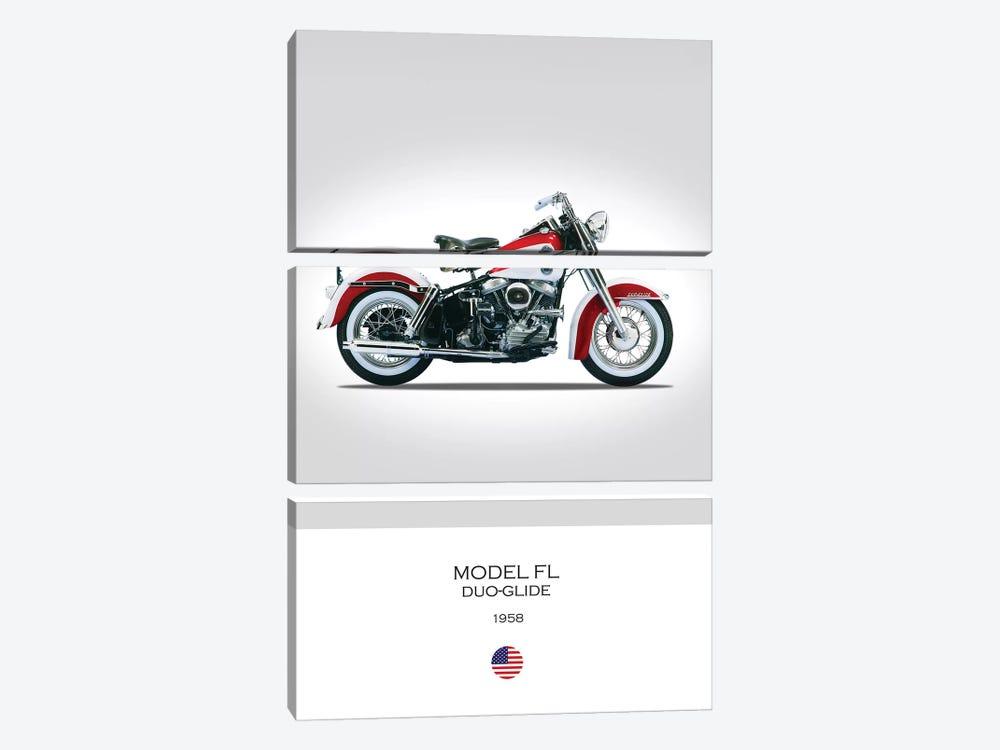 1958 Harley-Davidson Model FL Duo-Glide Motorcycle by Mark Rogan 3-piece Art Print