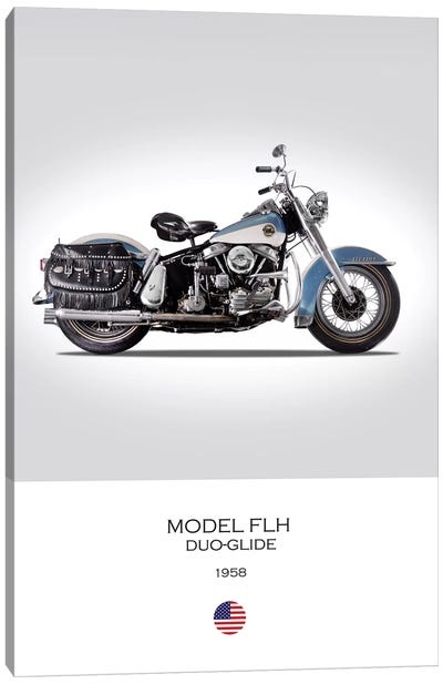 1958 Harley-Davidson Model FLH Duo-Glide Motorcycle Canvas Art Print
